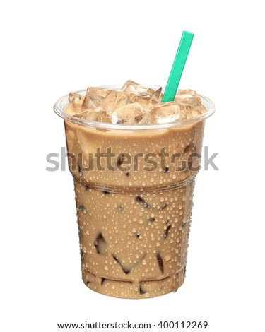 Iced latte or iced coffee in takeaway cup on white background including clipping path - stock photo