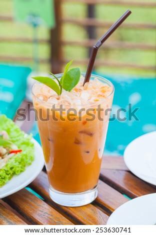 iced milk tea - stock photo