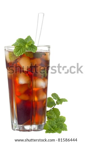 Iced Mint Tea in a Tall Glass