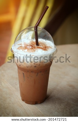 Iced Mocha Coffee with Whipped Cream - stock photo