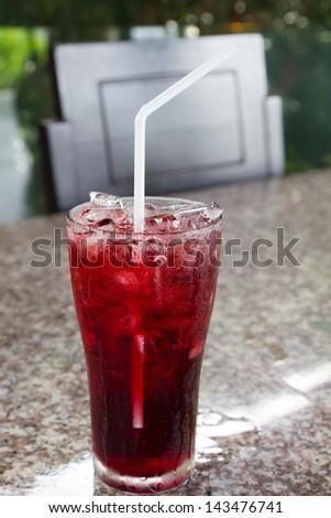 Iced roselle juice - stock photo