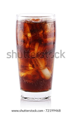 iced soda in glass on white background. - stock photo