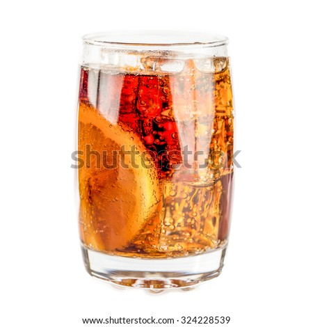 iced soda with lemon slice on white background - stock photo