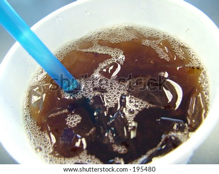 Iced tea drink in wax cup with straw stock photo for California iced tea recipe
