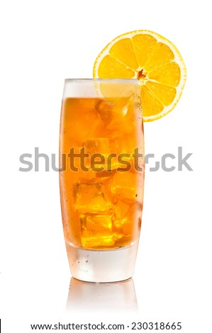 Iced Tea Isolated With Reflection