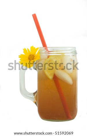 Iced Tea with Lemon - stock photo