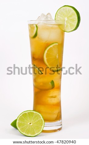 Iced tea with lemon isolated on white background