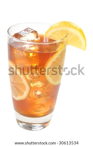 Iced tea with lemons isolated on white background with clipping path.