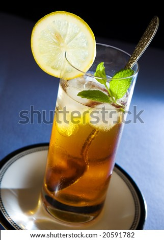 Iced Tea with Mint and Lemon - stock photo