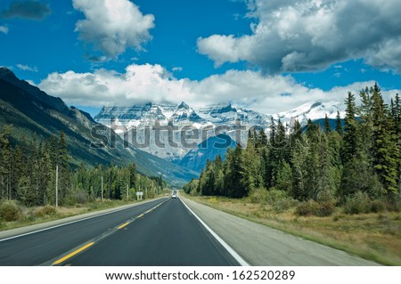 Icefields Parkway between Jasper and Banff, Canada  - stock photo