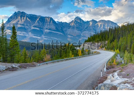 Icefields Parkway, Canadian Rockies Mountains, Alberta, Canada - stock photo