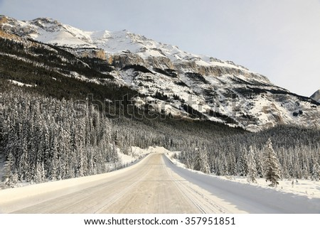 Icefields Parkway in winter, Alberta, Canada - stock photo