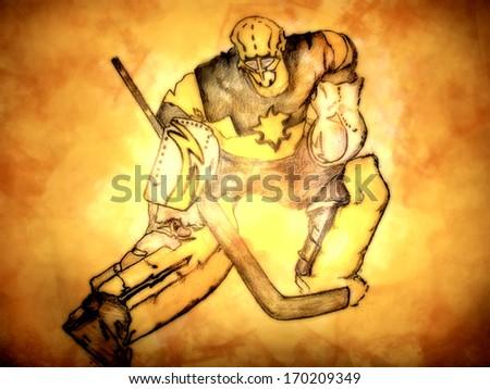 icehockey goalkeeper - stock photo