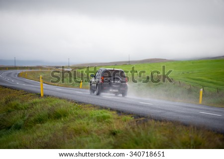 ICELAND-AUG 27, 2015: Suzuki Grand Vitara car on the road in Iceland. Suzuki Motor Corporation is a Japanese multinational corporation headquartered in Minami-ku, Hamamatsu, Japan. - stock photo