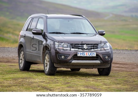 ICELAND-AUG 30, 2015: Suzuki Grand Vitara car. Suzuki Motor Corporation is a Japanese multinational corporation. Suzuki specializes in manufacturing automobiles, four-wheel drive vehicles, motorcycles - stock photo