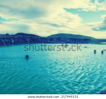 Iceland background blue lagoon - stock photo