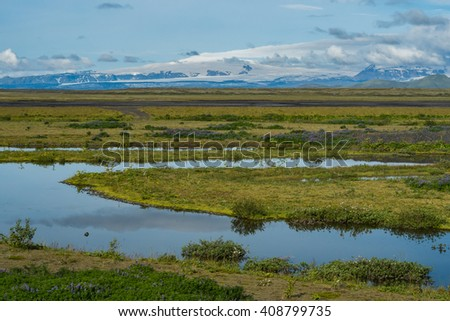 Iceland, Beautiful arctic landscape, wild field with bright grass and moss and distant black hills against the background of blue sky - stock photo