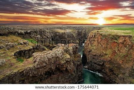Iceland - Canyon Kolugil at sunset - stock photo