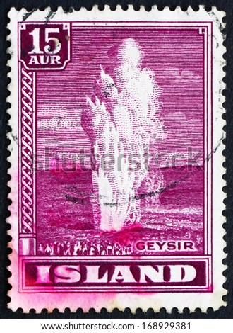 ICELAND - CIRCA 1938 a stamp printed in the Iceland shows Geyser, Natural Phenomenon, circa 1938 - stock photo