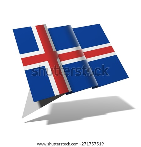Iceland flag 3D banner - stock photo