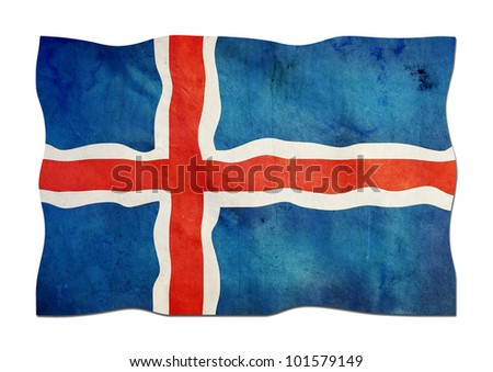 Iceland Flag made of Paper - stock photo
