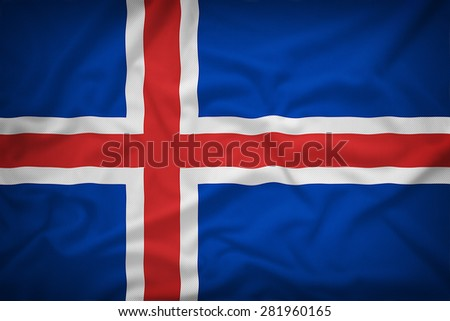 Iceland flag on the fabric texture background,Vintage style