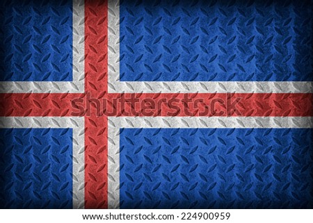 Iceland flag pattern on the diamond metal plate texture ,vintage style - stock photo