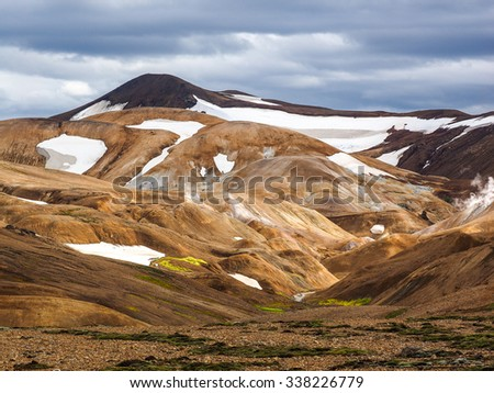 Iceland geothermal hot spring field Kerlingafjoll, Iceland - stock photo