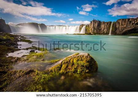 Iceland, Godafoss at sunset, long exposure, pacefull landscape scene - stock photo
