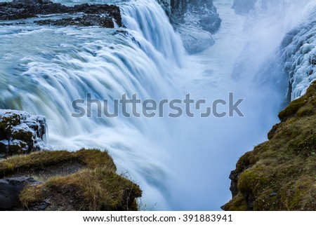 Iceland golden waterfall scenery