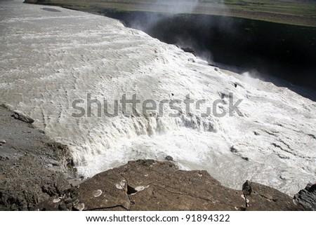 Iceland Gullfoss Waterfall - stock photo