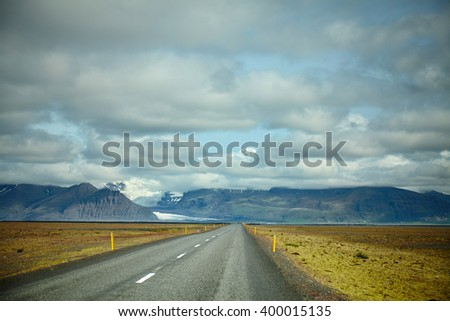 Iceland highest mountain peaking in the clouds, Hvannadalshn�ºkur  - stock photo