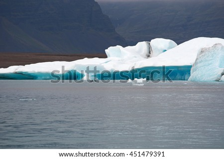 Iceland: icebergs in the Jokulsarlon glacier lagoon on August 19, 2012. Jokulsarlon is a glacial lake in Vatnajokull National Park developed after the glacier receded from the edge of Atlantic Ocean