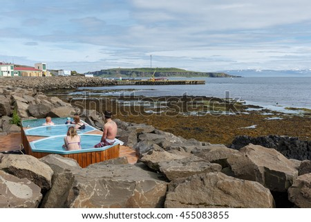 Iceland June 19,2016, hot pools at the shore of Drangsnes Iceland