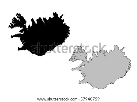 Iceland map. Black and white. Mercator projection. - stock photo