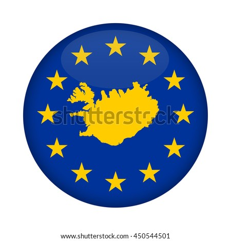 Iceland map on a European Union flag button isolated on a white background. - stock photo