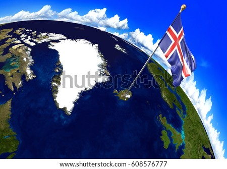 Iceland national flag marking country location ilustracin de iceland national flag marking the country location on world map 3d rendering parts of gumiabroncs Image collections