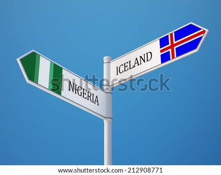 Iceland Nigeria High Resolution Sign Flags Concept