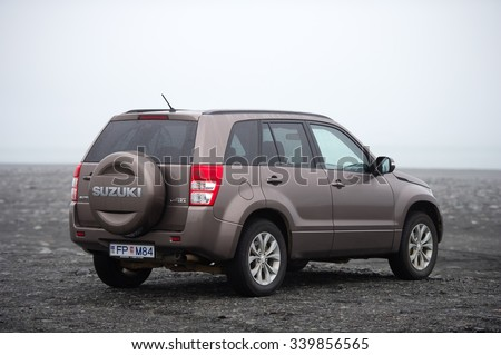 ICELAND-SEP 19, 2015: Suzuki Grand Vitara car. Suzuki Motor Corporation is a Japanese multinational corporation. Suzuki specializes in manufacturing automobiles, four-wheel drive vehicles, motorcycles - stock photo