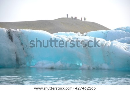 ICELAND - SEPTEMBER 10: Jokulsarlon Glacial Lagoon Boat Tour in Iceland on September 10, 2015. Many people visit the famous glacial lagoon in Iceland every year.