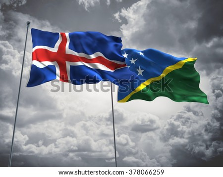 Iceland & Solomon Islands Flags are waving in the sky with dark clouds