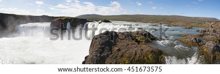 Iceland: view of Godafoss on August 26, 2012. Godafoss, the waterfall of the Gods, is one of the most spectacular waterfalls in Iceland, originated from the water of the river Skjalfandafljot