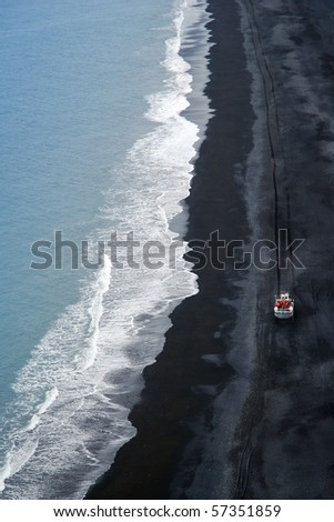 Iceland volcanic coastline - stock photo