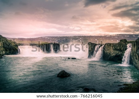 iceland: Waterfall and river