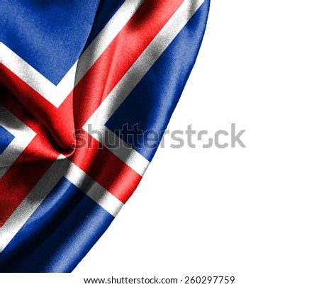 Iceland waving silky flag isolated on white background - stock photo