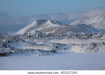 Iceland, way to Olafsvik, winter landscape