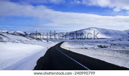 Iceland./ Winter Road  - stock photo