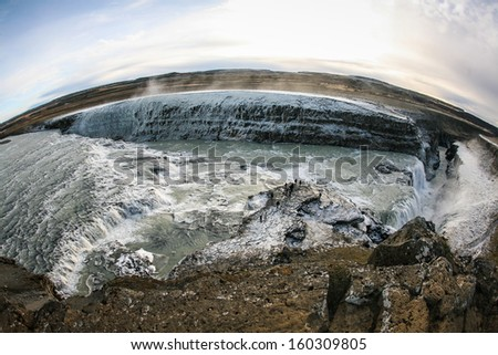 Iceland with fish eye - stock photo