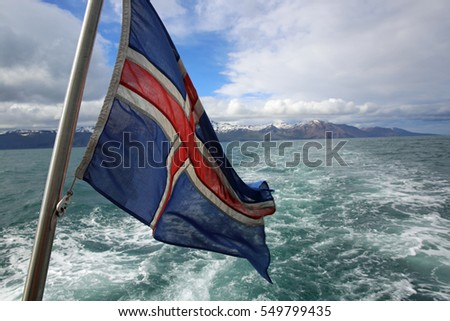 Icelandic Flag on a Boat near Husavik. Iceland