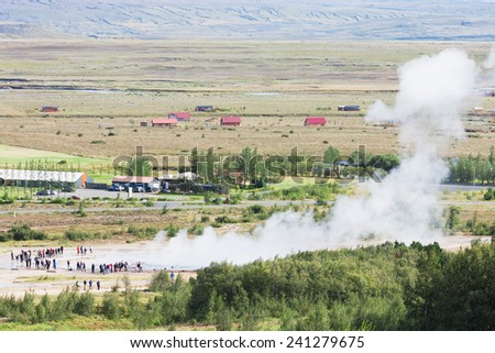Icelandic geyser Strokkur - stock photo